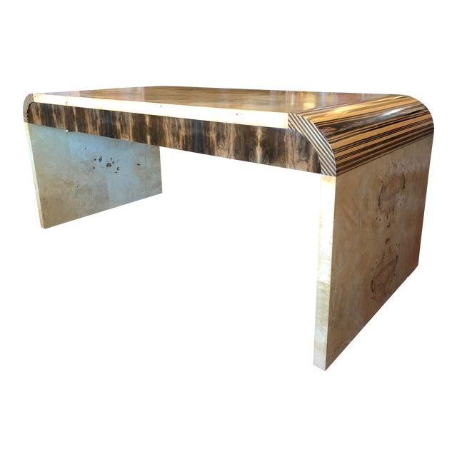 Vintage 1970's Henredon Olive Burl Waterfall Desk/Table For Sale