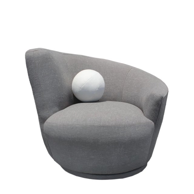 1970s 1970s Vladimir Kagan Nautilus Swivel Chair in Grey Linen Tweed For Sale - Image 5 of 6