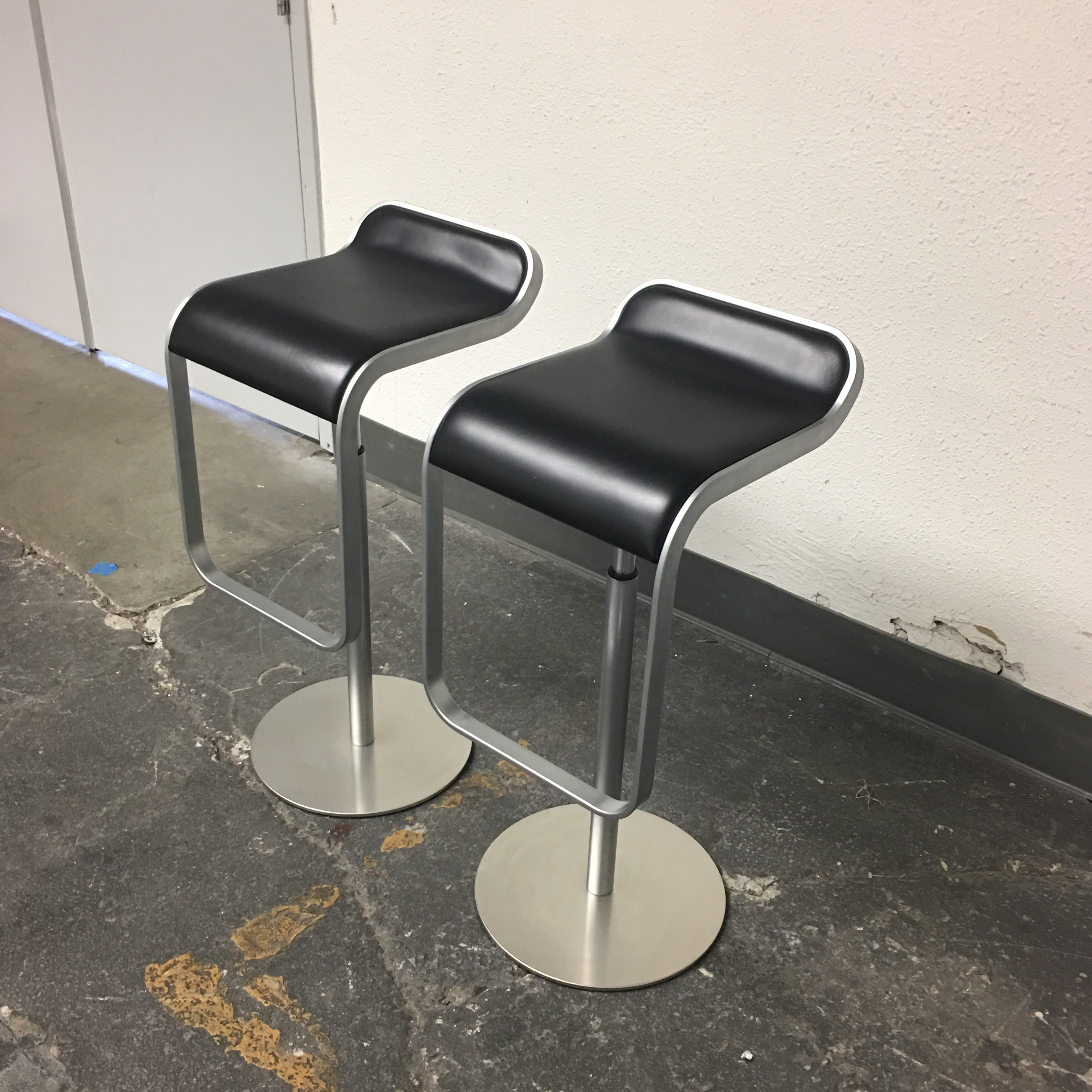 DWR Lem Piston Stools With Black Leather Seats   A Pair   Image 4 Of 8
