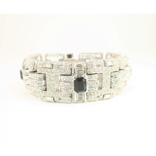 Ciner Art Deco-Style Geometric Link Rhodium Bracelet 1950s For Sale In Los Angeles - Image 6 of 13