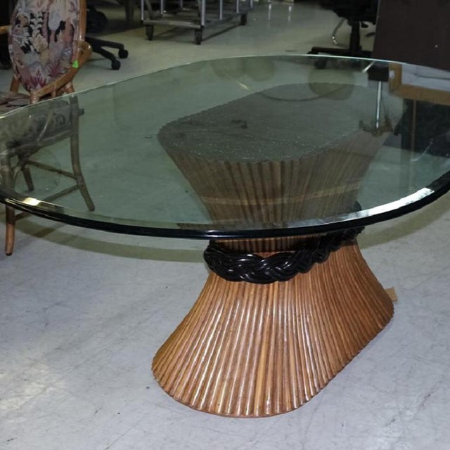 McGuire Large McGuire Rattan Trompe L' Oeil Tole Pedestal Dining Table or Center Table With Oval Glass Top 1950's For Sale - Image 4 of 10