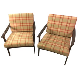 Mid-Century Modern Ib Kofod-Larsen Style Lounge Chairs - a Pair For Sale