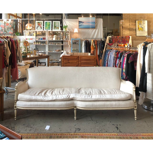 1950s Vintage White Velvet French Sofa For Sale - Image 10 of 10