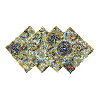 Vintage Yellow Paisley Cotton Dinner Napkins - Set of 4 For Sale