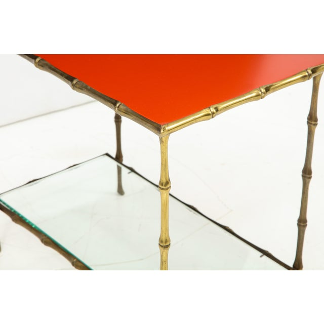 Gold Solid Bronze Faux Bamboo Side Table by Maison Baguès, France, 1960s For Sale - Image 8 of 10