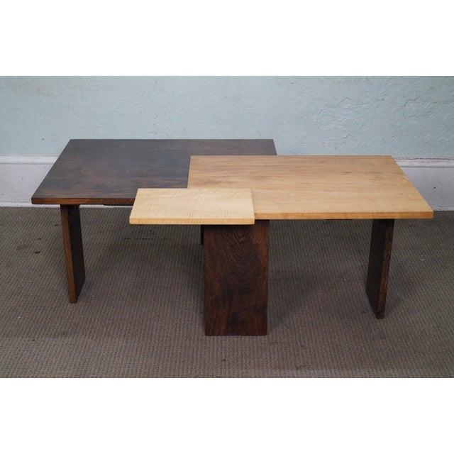 Wood Jeffrey Greene Studio Mixed Wood Geometric Coffee Table For Sale - Image 7 of 10