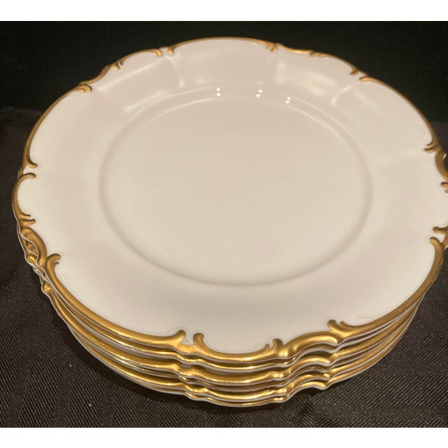 Hutschenreuther Brighton, Sylvia shape, made in Germany, 10 1/8 Inch Dinner Plates, White with gold trim Set of 6 These...