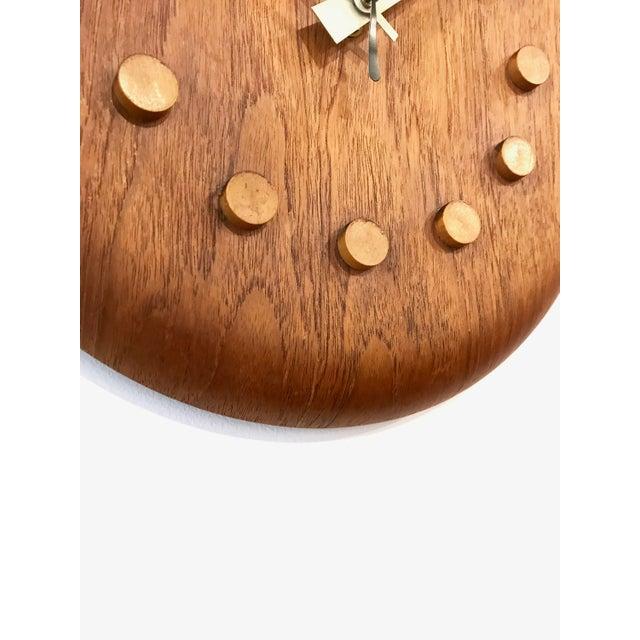 Teak Vintage George Nelson / Fritz Hansen Wall Clock 1950's For Sale - Image 7 of 11