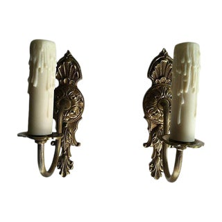 Gustavian-Style Brass Sconces - A Pair For Sale