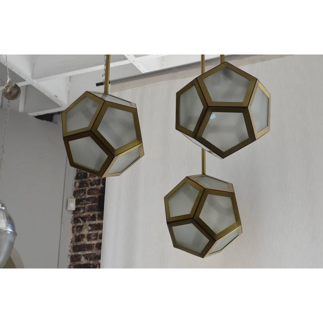 DESIGN FRERES Large Cluster Chandelier of Three Pentagone Lanterns by Design Frères For Sale - Image 4 of 6