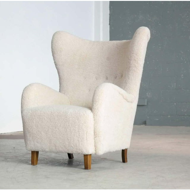 Mid-Century Modern High Back Lounge Chair in Lambswool Danish 1940's Attributed to Flemming Lassen For Sale - Image 3 of 11