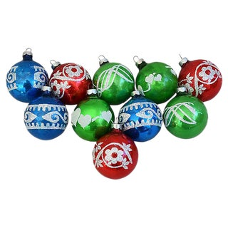 Mid-Century Glitter Christmas Tree Ornaments w/Box - Set of 10 For Sale