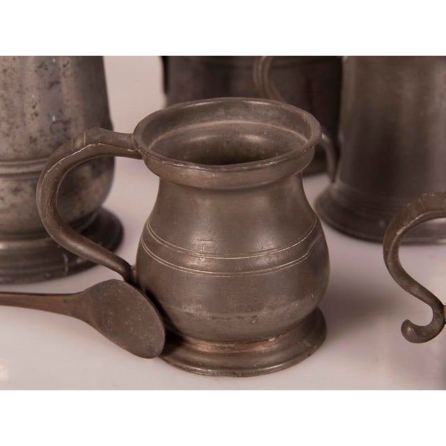 Gray English Pewter Pieces with Maker Stamps Circa 1850 - Set of 11 For Sale - Image 8 of 11