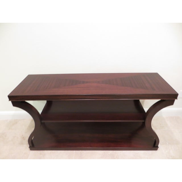 Contemporary Ethan Allen Mahogany & Zebra Wood Donatella Console Table For Sale - Image 3 of 6