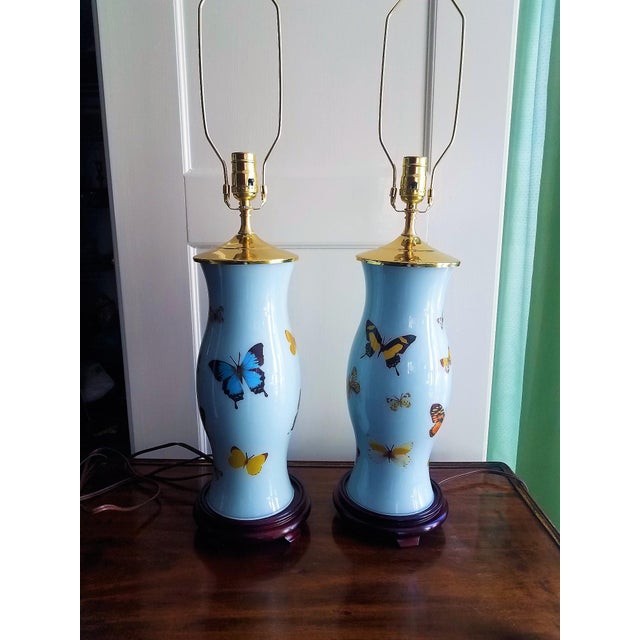 Boho Chic Hand Designed Decoupaged Butterfly Glass Lamps With Blue - a Pair For Sale - Image 3 of 7