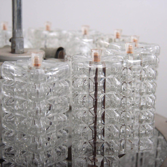 Eba Leuchten One of six Huge and Rare Glass Chandeliers by Austrolux For Sale - Image 4 of 8