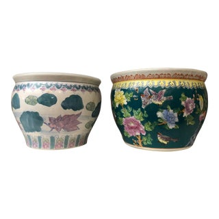 Mismatched Chinosierie Planters, Pair For Sale