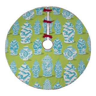 Blue and Green Ginger Jar Tree Skirt For Sale