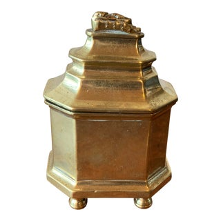 Antique English Georgian Brass Tobacco Jar With Lid For Sale