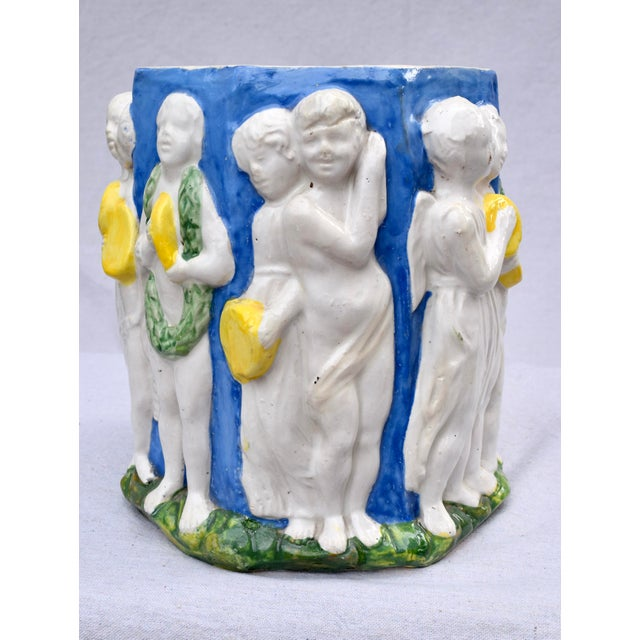 Ceramic Italian DellaRobbia Style Terra-Cotta Planter For Sale - Image 7 of 11