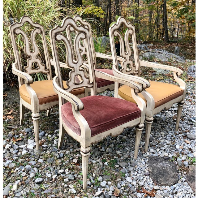Vintage Italian Dining Chairs Set 4 For Sale - Image 12 of 12