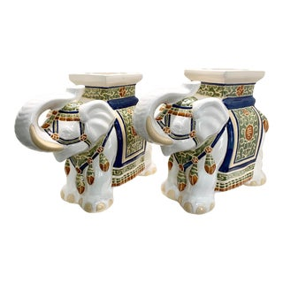 Modern Asian Elephant Garden Stools - Set of 2 For Sale