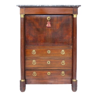 19th C. French Empire Drop-Front Secretary Desk For Sale