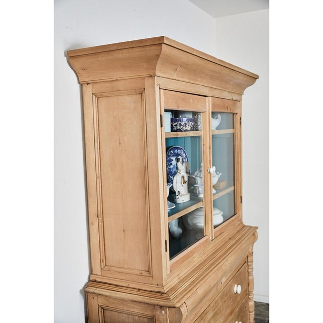 Pine Cabinet W/Blue Interior For Sale - Image 4 of 10
