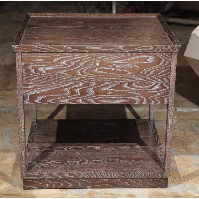 Metal Paul Marra Ceruse Oak Two-Tier Nightstand For Sale - Image 7 of 10