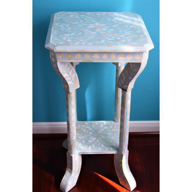 Indian Bone Inlay Side Table - Image 3 of 10