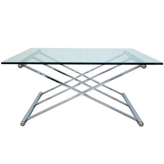 Triple X Frame Modern Chrome & Glass Square Coffee Table After Maison Jansen For Sale