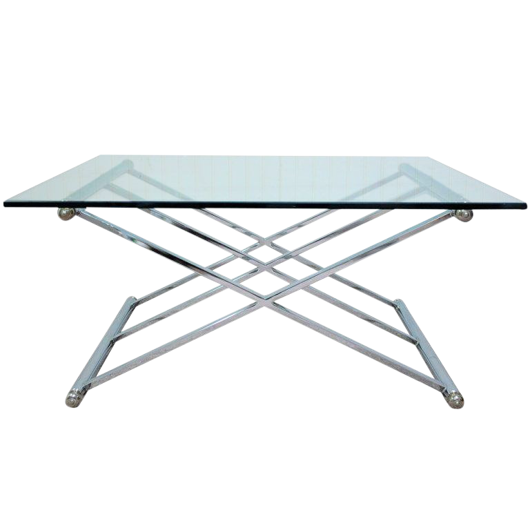 Triple X Frame Modern Chrome U0026 Glass Square Coffee Table After Maison Jansen