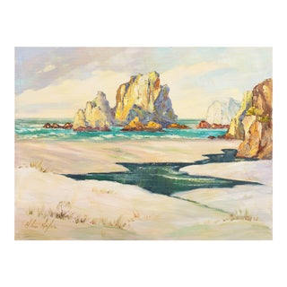 'California Cove, Orange County', Helen Hafer, California Post-Impressionist Woman Artist, 1965 For Sale