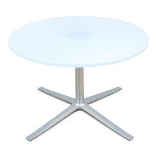 Modern Pearson Lloyd for Coalesse Bob Round Glass Top Occasional Coffee Table For Sale