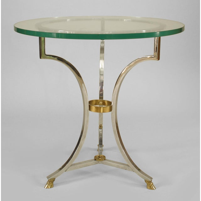 Mid-Century Modern French Nickel and Glass End Table For Sale - Image 3 of 3