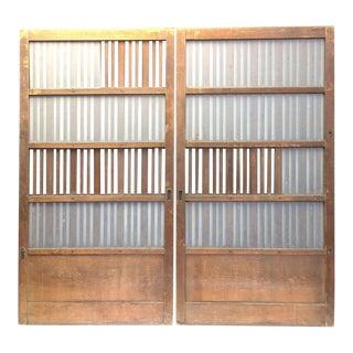 Japanese Machiya Cedar Exterior Panel/Screens - a Pair For Sale