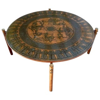 1960s Egyptian Themed Vad Trevare Stamped Copper Coffee Table For Sale