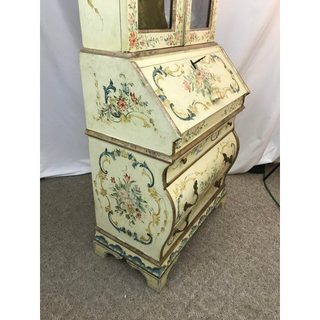 20th Century Cottage Quaint Floral Painted Secretary Desk For Sale In Portland, OR - Image 6 of 11