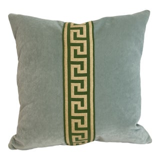 Blue Velvet With Greek Key Tape Throw Pillow Cover For Sale