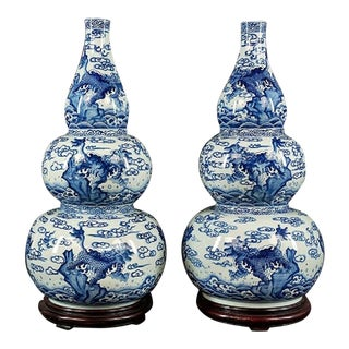 Early 20th C. Antique Chinese Blue & White Triple Gourd Porcelain Vases- A Pair For Sale
