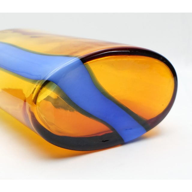 Italian V. Nason & C., Italy Amber and Blue Murano Glass Vase Set For Sale - Image 3 of 6