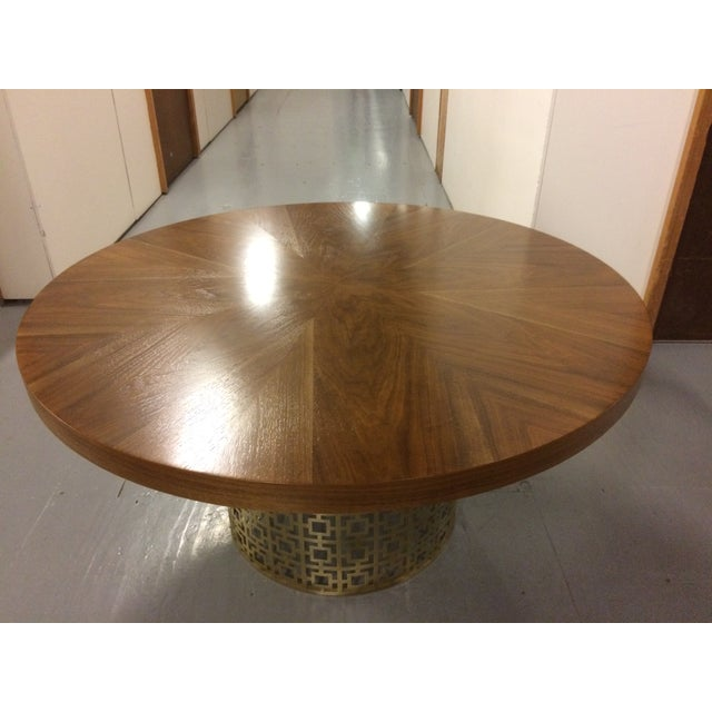 Jonathan Adler Walnut Table With Brass Base - Image 2 of 5