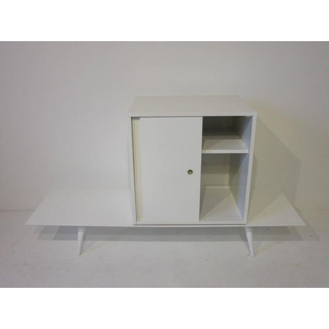 Wood Paul McCobb Planner Group Cabinet on Bench in Rare Factory White Finish - 2 pieces For Sale - Image 7 of 7