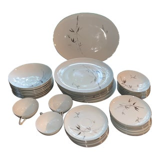 Sango Bamboo Knight Grey Bamboo Platinum Trim-Partial Dinnerware Set - 41 Plates, Reduced For Sale