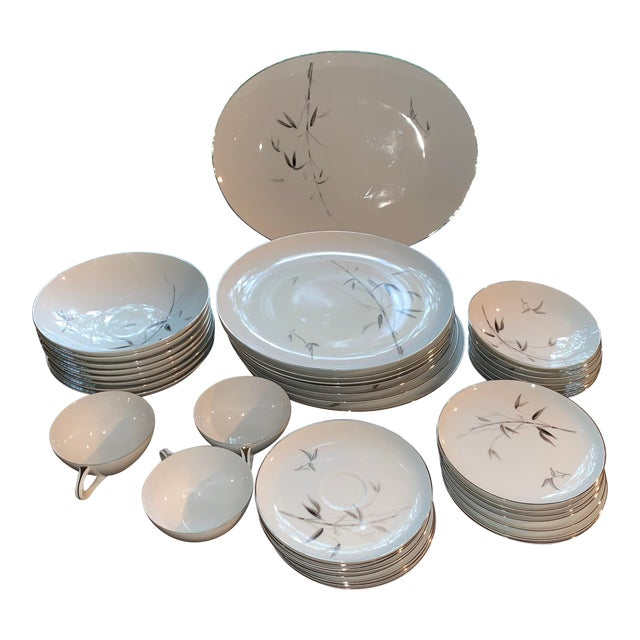 Sango Bamboo Knight Grey Bamboo Platinum Trim-Partial Dinnerware Set - 41 Plates, Reduced For Sale