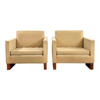 1960s Vintage Mies Van Der Rohe Style Club Chairs- A Pair For Sale