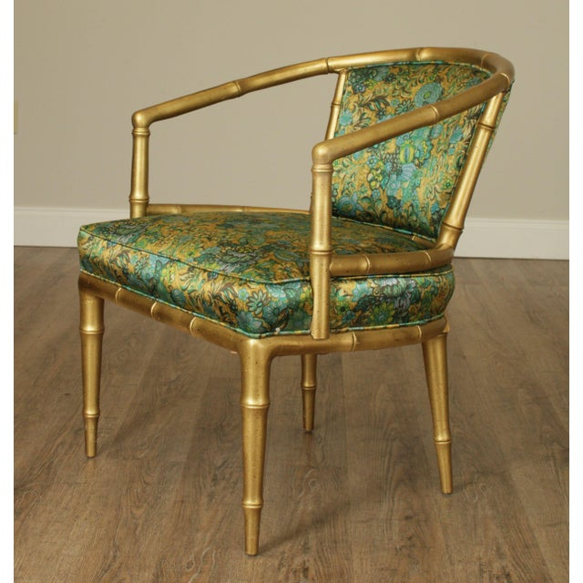 Gold Hollywood Regency Faux Bamboo Mid Century Gilt Wood Barrel Back Armchairs - a Pair For Sale - Image 8 of 13