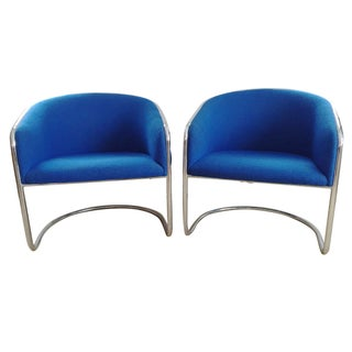 Thonet Chrome Cantilevered Barrel Chairs - A Pair For Sale