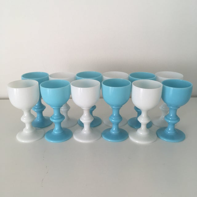 Beautiful Antique Cordials, Set of 12, by Portieux Vallerysthal in a Turquoise Blue. Six cordials are Blue Opaline and six...