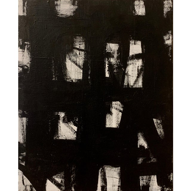 This original black and white acrylic painting is inspired by Franz Kline and the mid-century masters. Framed in a gold...